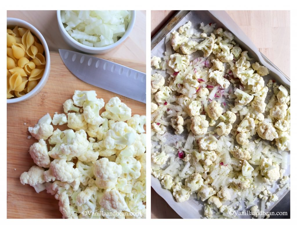Cauliflower trimmed and cut into small, bite-sized pieces