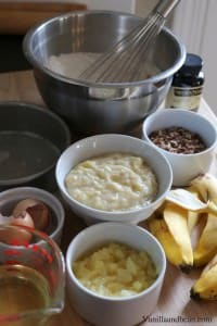 All cake ingredients in separate small bowls.
