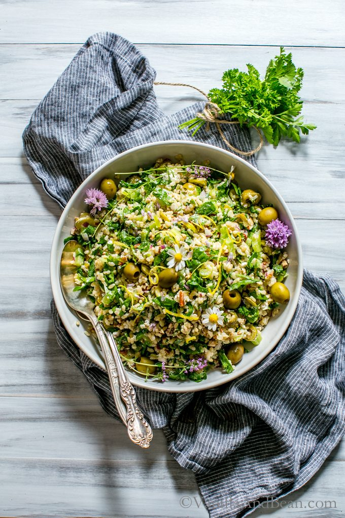 This Spinach Pecan Brown Rice Salad with Feta in a bowl ready for sharing.
