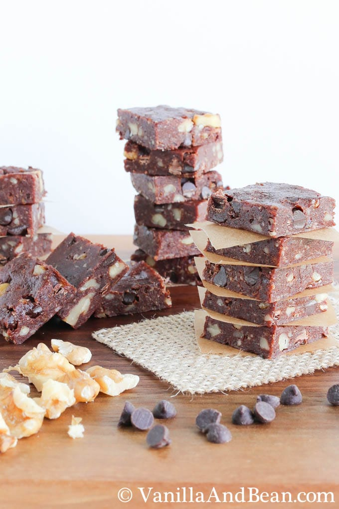 Chocolate date bites cut into small squares