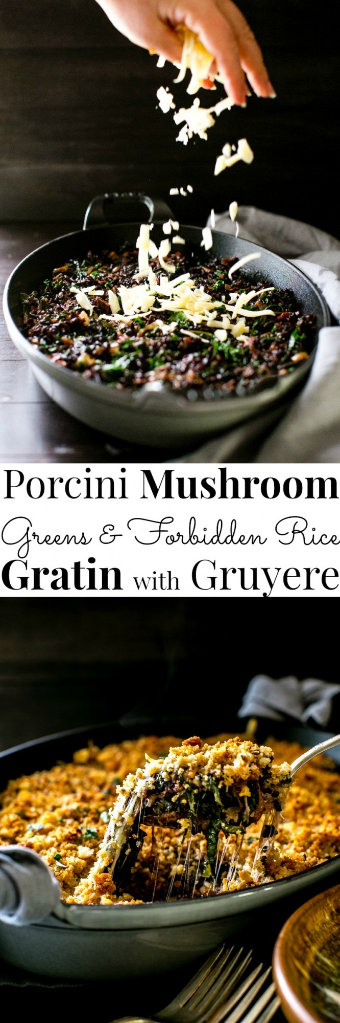 Porcini Mushroom, Greens and Forbidden Rice Gratin | Vanilla And Bean