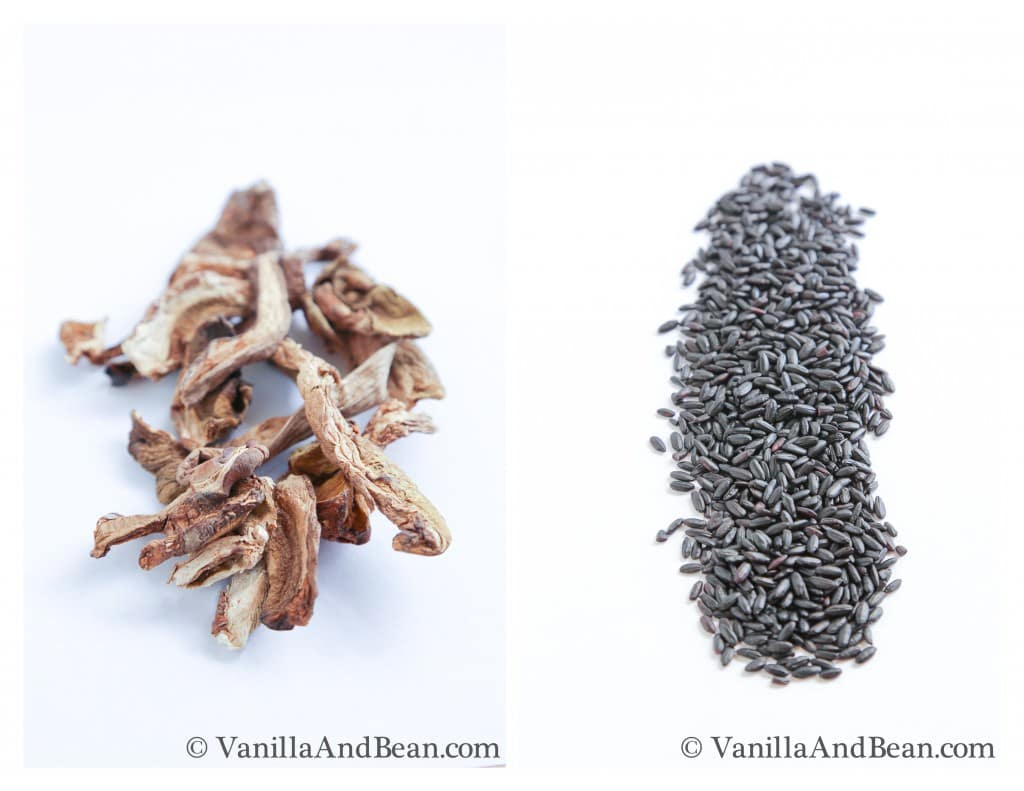 Dried Porcini Mushrooms and Forbidden Rice | VanillaAndBean.com