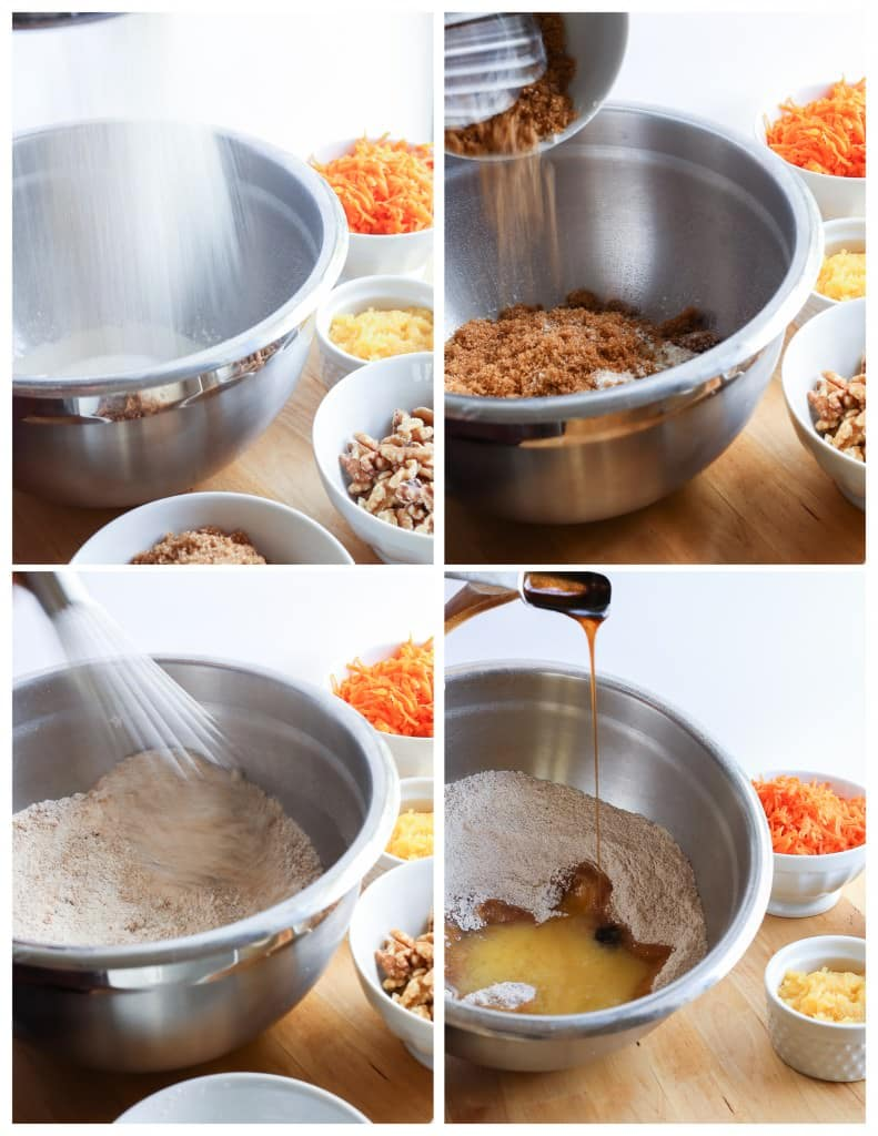 Dry ingredients mixed in a large bowl and the liquid ingredients poured over it.
