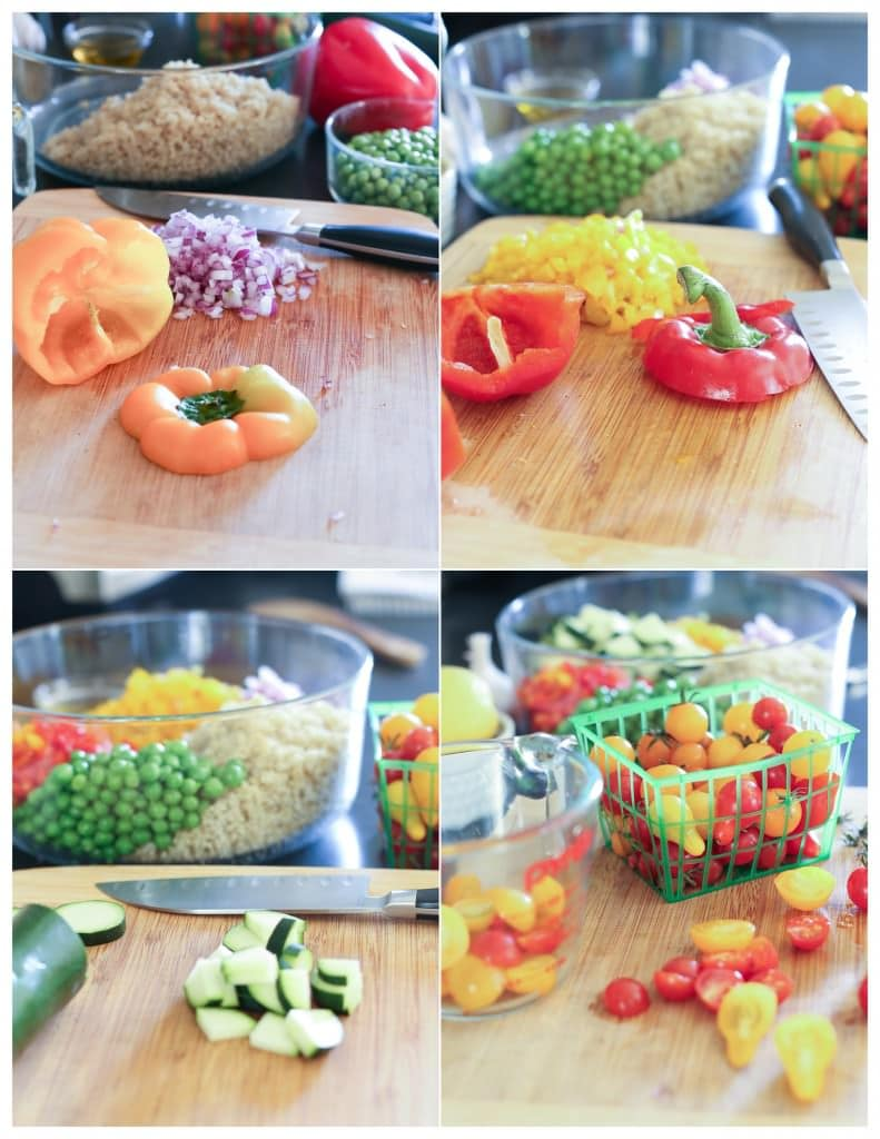 Salad ingredients on a chopping board.