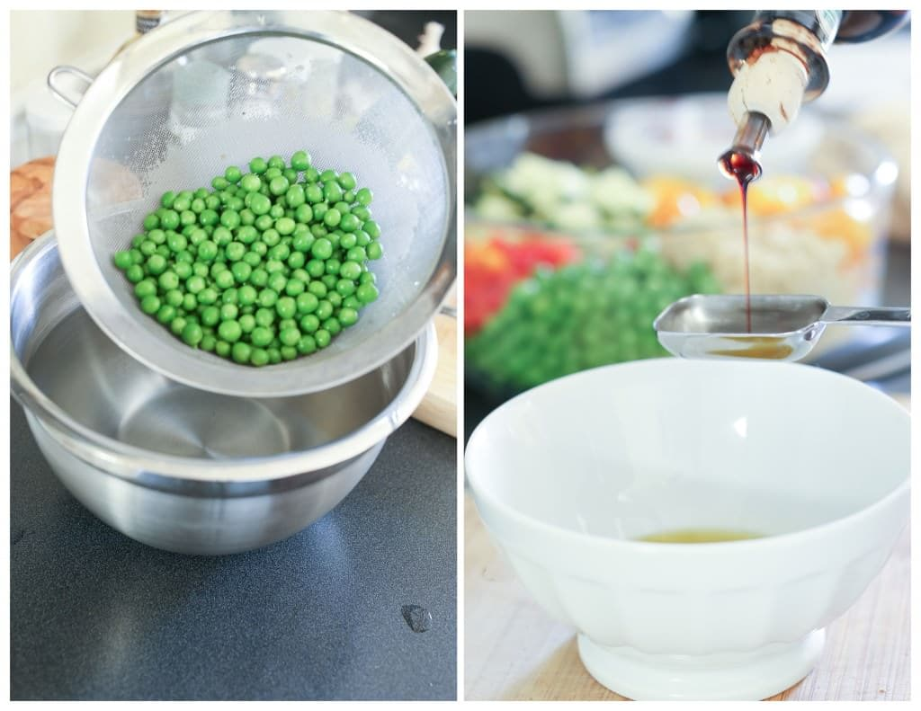 Peas in a colander and olive oil poured on a small glass bowl.