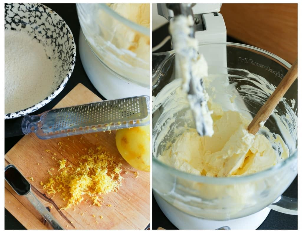 Butter and cream cheese in a mixer with lemon juice and zest added.