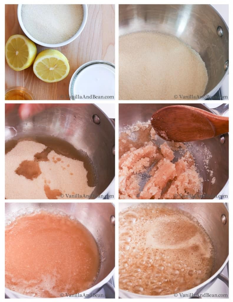 Ingredients for the caramel in a sauce pan from mixing to boiling.