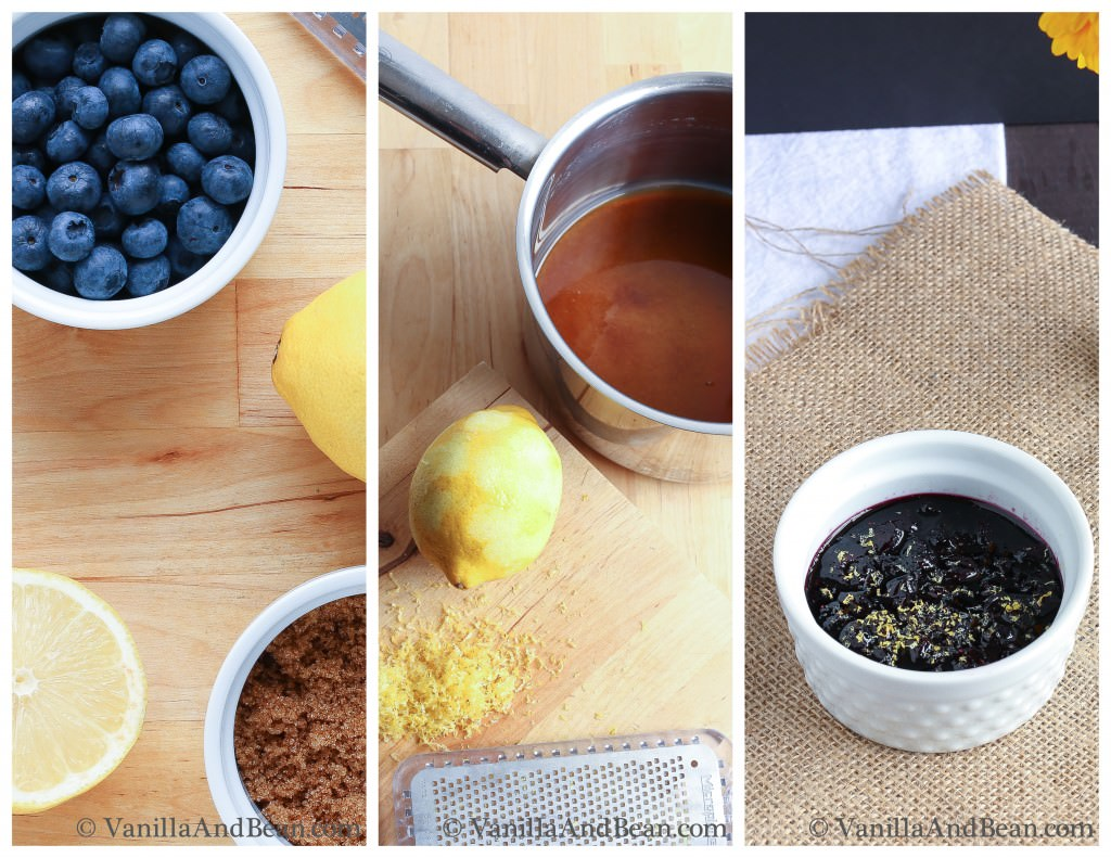 Ingredients of the blueberry compote.