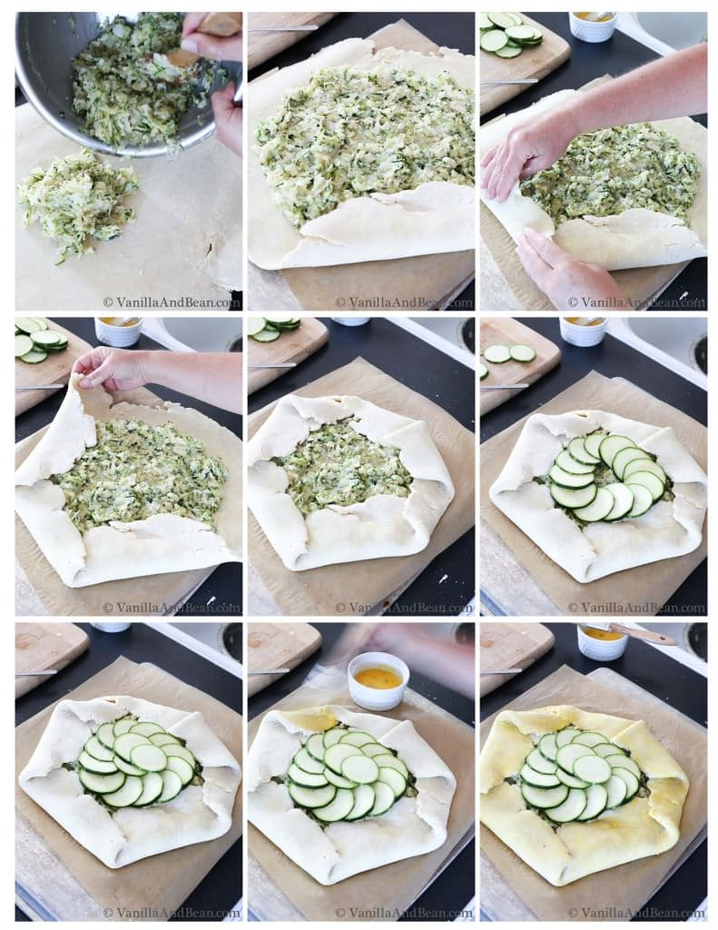The zucchini and onion mixture are placed in the pastry and sides decorated in overlapping circle. Sliced zucchinis are added in the open center.