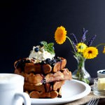 Nutty Whole Grain Waffles with Blueberry Compote