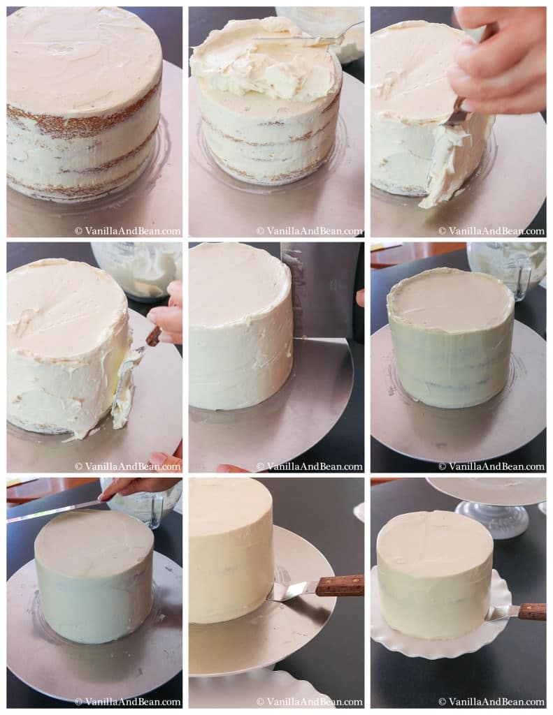 Smoothing the icing on top and sides of a four-layer cake