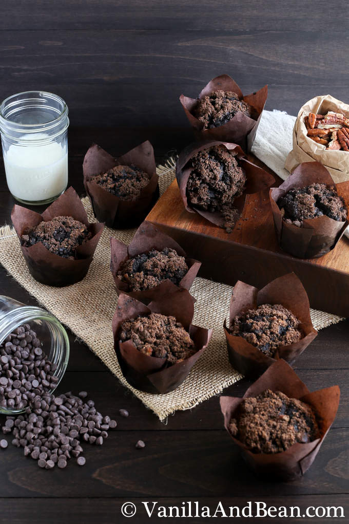 Chocolate muffins on a dark table with chocolate chips and a glass of milk