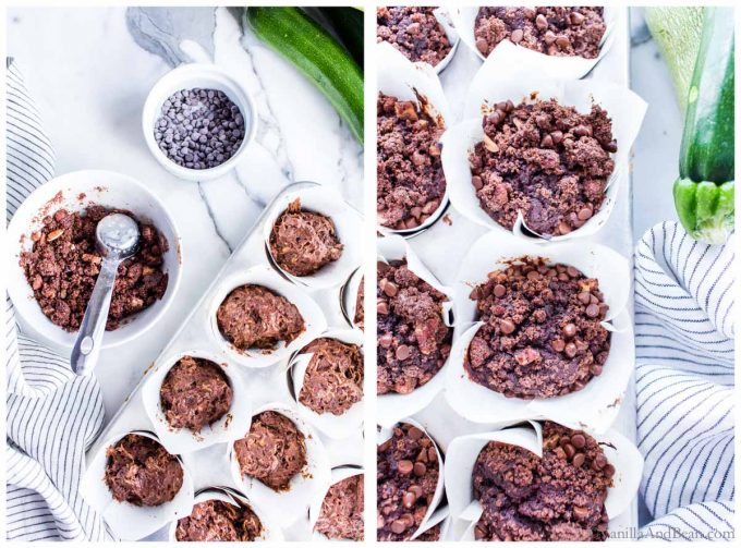 1. Zucchini muffin batter in parchment lined muffin tins. 2. Vegan chocolate muffins in a muffin tin just out of the oven.