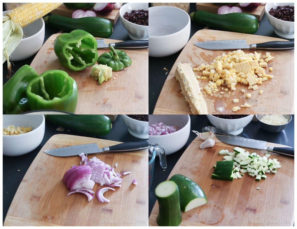 Green bell peppers with top and seeds removed and other ingredients diced