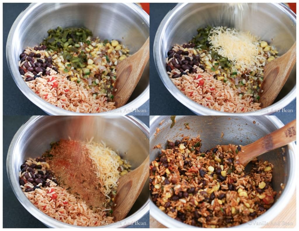 Ingredients mixed with a wooden spoon in a mixing bowl