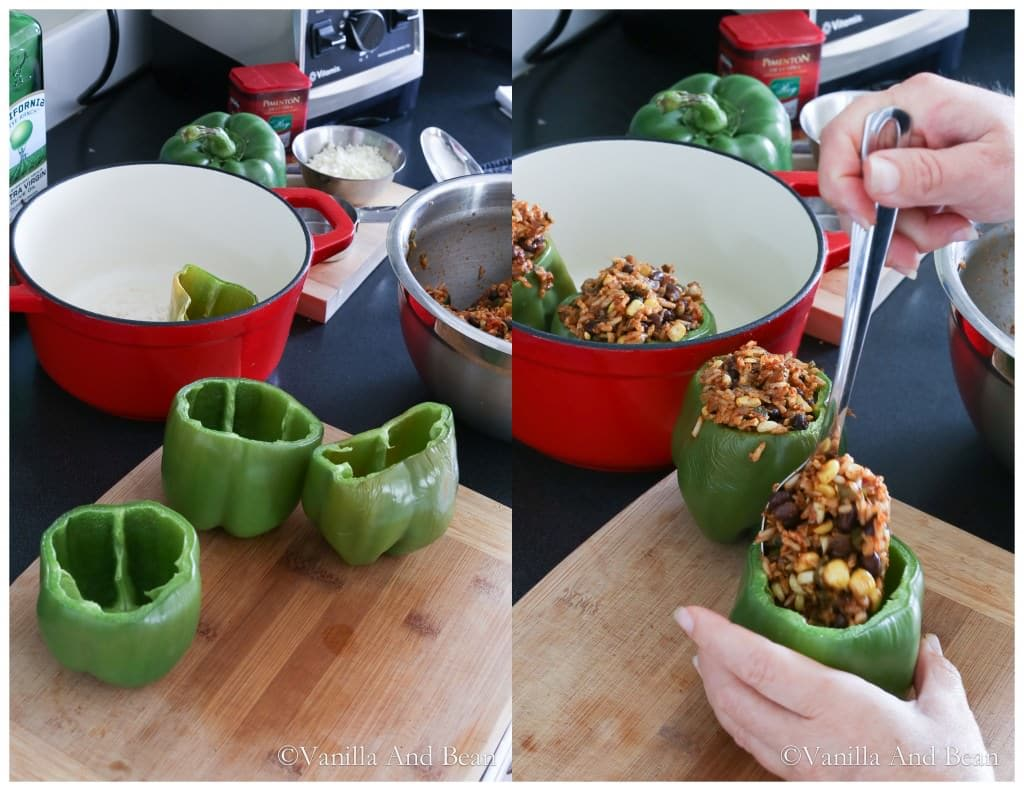 Green bell peppers stuffed and gently packed with the rice mixture