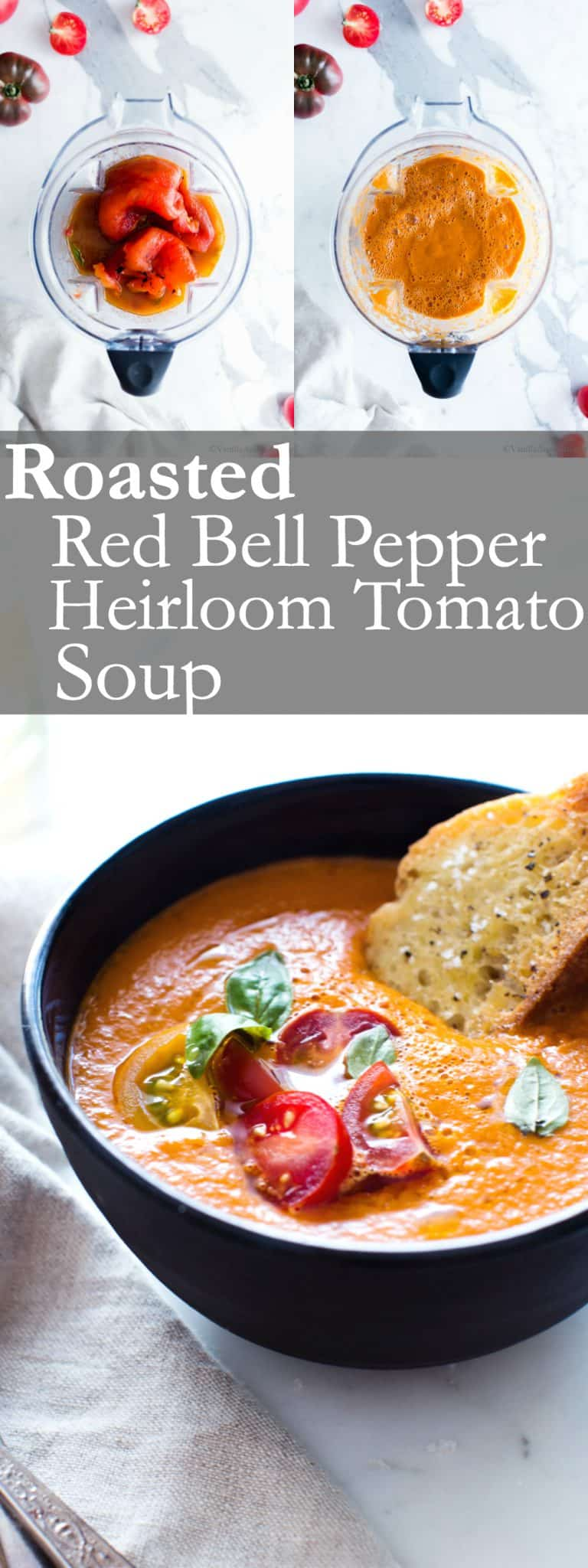 Hearty and rich with just 5 ingredients in this Roasted Red Bell Pepper and Heirloom Tomato Soup. Freeze with ease to preserve for winter days ahead. #TomatoSoup #RoastedRedBellPepper #SoupSeason #GlutenFree #Vegan