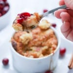 A spoon full of apple cobbler
