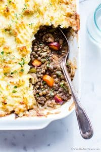 A closeup of the interior of this meatless cottage pie.