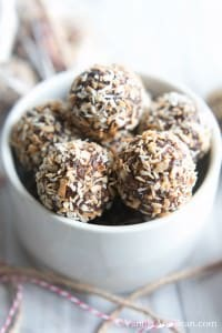 Bourbon Date Nut Truffles in a bowl.