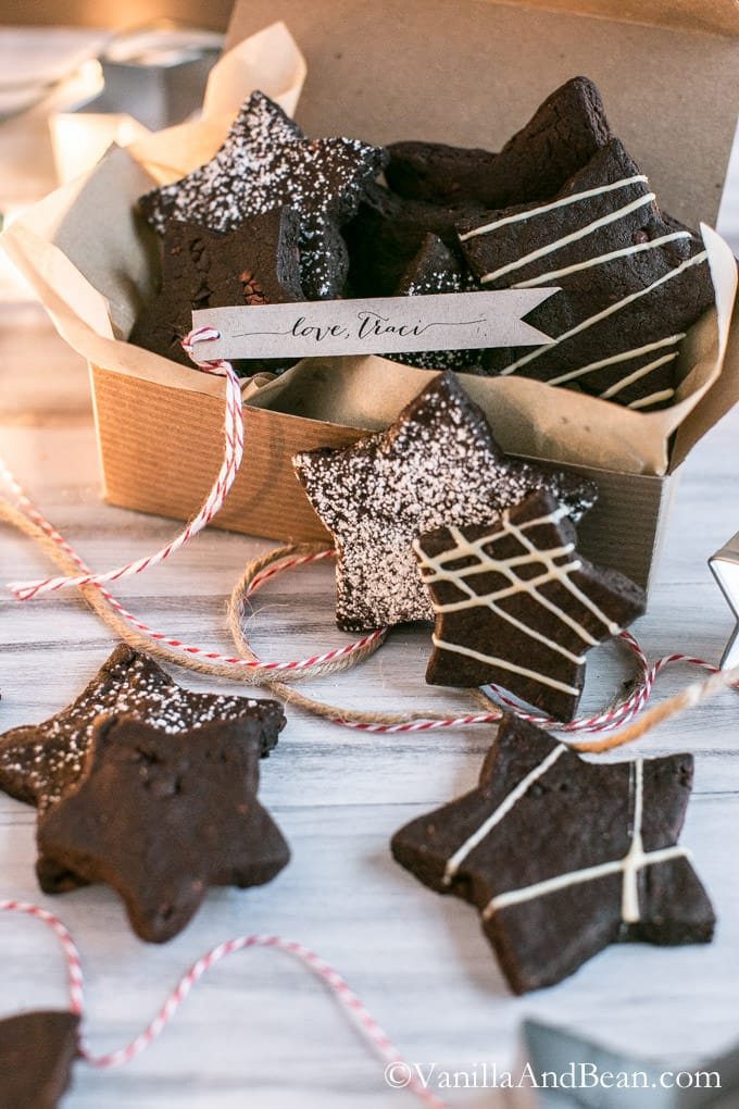 Dark Chocolate Cocoa Nib Shortbread Cookies in a gift box