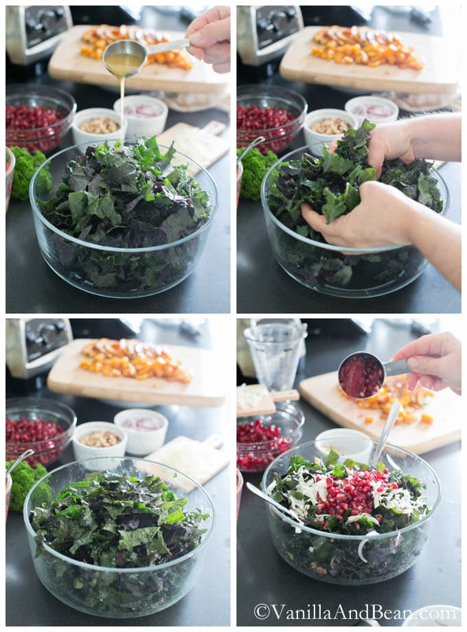 Using hands to massage the poured dressing on a bowl of kale and other ingredients added to it