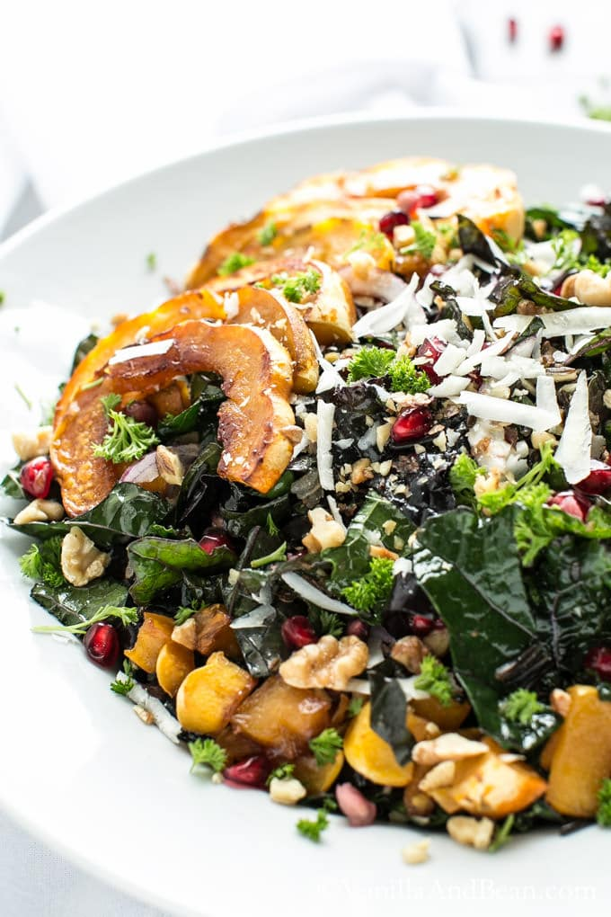 Kale and Wild Rice Salad with Maple Roasted Squash in a large bowl ready to eat