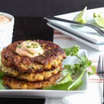 Roasted Corn Zucchini Fritters with Chipotle Lime Cream