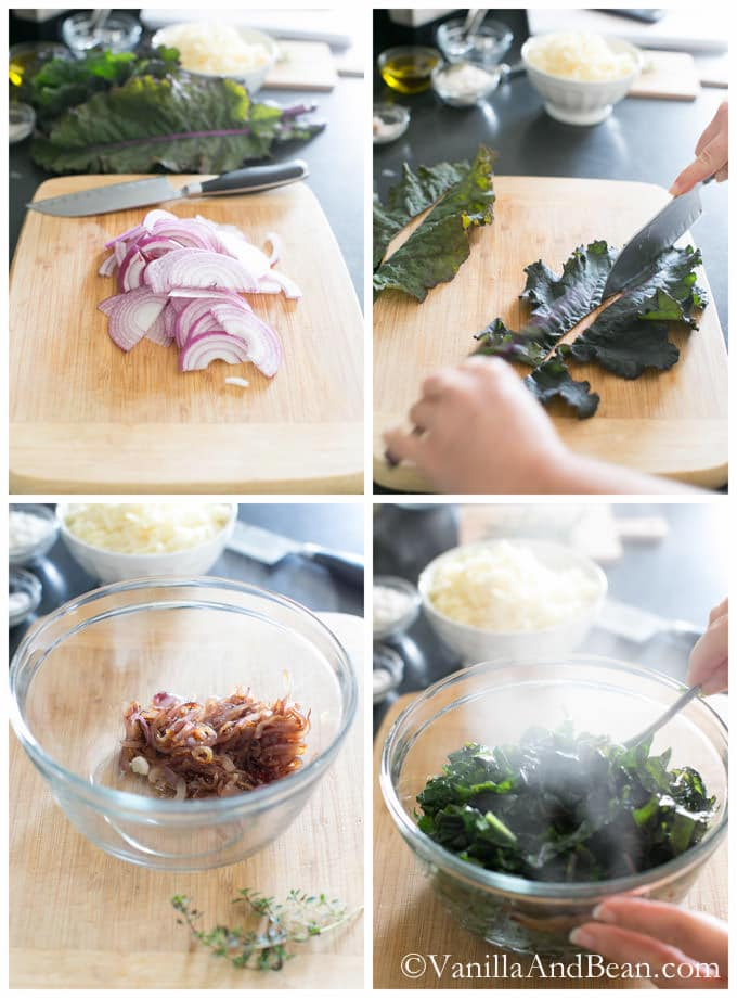 Onions sliced and kale chopped on a chopping board with a knife. The caramelized onions and steamed kale are in separate glass bowls.