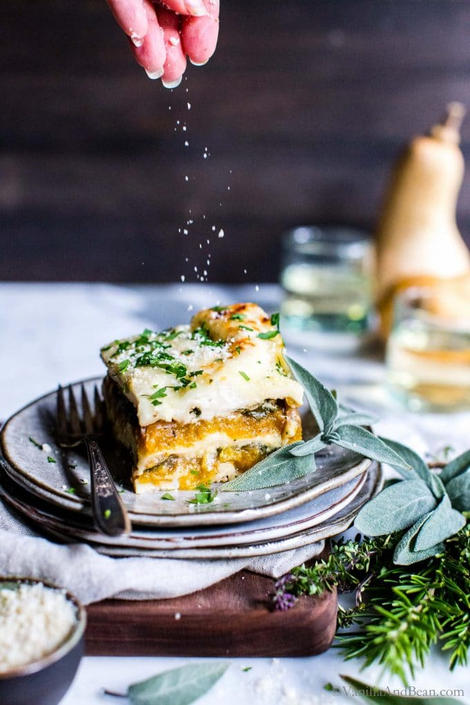 Butternut Squash Lasagna recipe on a plate ready to eat.