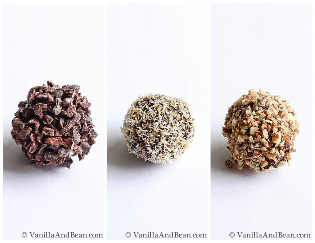 Bon bons rolled in three different finishing ingredients: chopped chocolate, shredded coconut, and chopped toasted almonds
