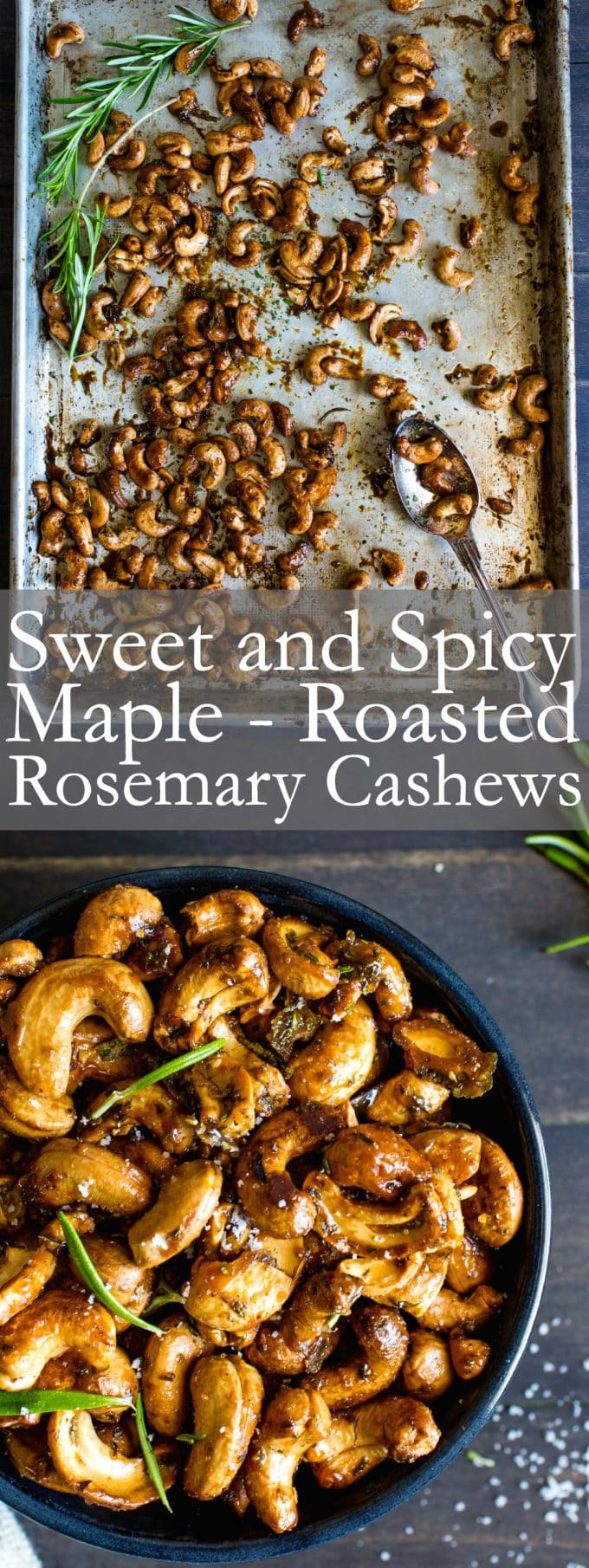 Recipe Video - Sweet and Spicy Maple-Roasted Rosemary Cashews make a fabulous appetizer, snack or gift, anytime! #VeganFood #GlutenFreeFood #Recipe #HolidaySnacks #RoastedNuts
