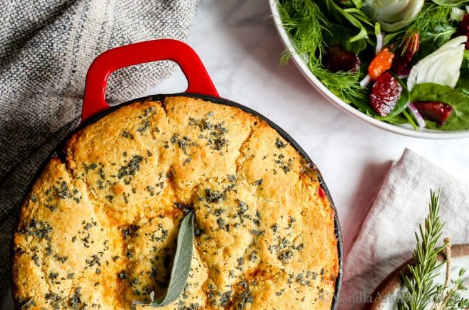 Cozy, one pot Black Eyed Pea Sweet Potato Cornbread Pot Pie. Pure comfort food during the coldest parts of the year. Vegetarian, optionally dairy free.
