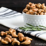 Sweet and Spicy Maple Roasted Rosemary Cashews | VanillaAndBean.com #Appetizer #Recipe #Vegan