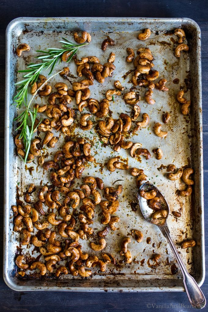 Recipe Video - Sweet and Spicy Maple-Roasted Rosemary Cashews make a fabulous appetizer,
