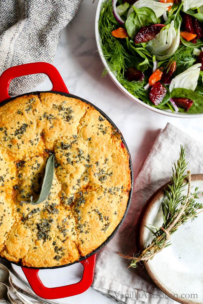 Black Eyed Pea Sweet Potato Cornbread Pot Pie | 17 Vegan Recipes to Kick Off the New Year