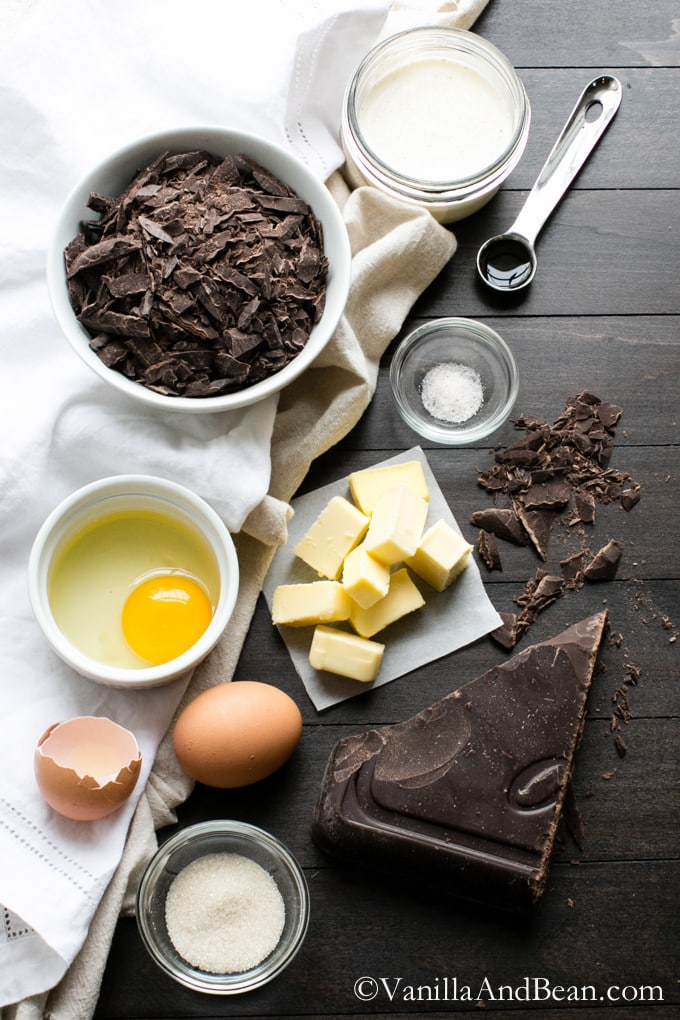 Ingredients for the Chocolate Decadence laid on a table.