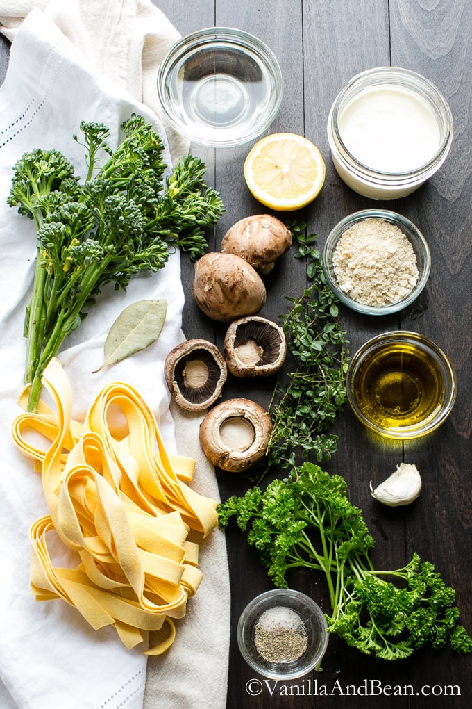 Ingredients for Pappardelle with Broccolini and Crunchy Gremolata on a table.