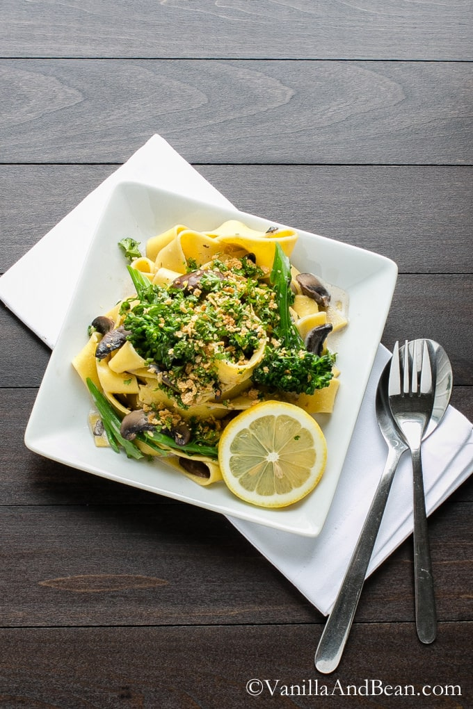 A plate of Pappardelle with Broccolini and Crunchy Gremolata.