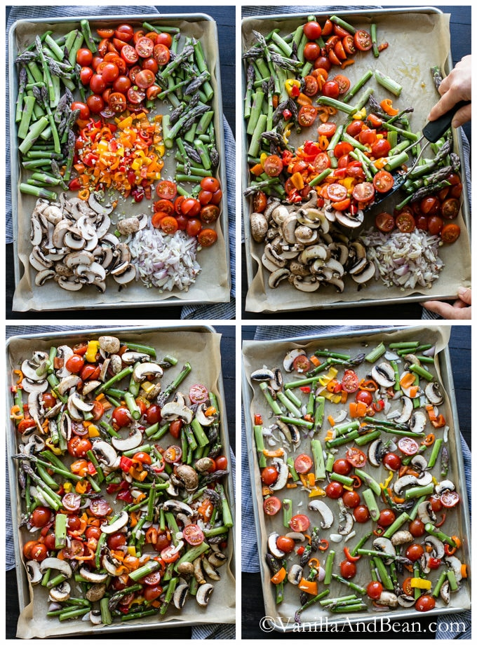 A pan of veggies getting ready to roast.