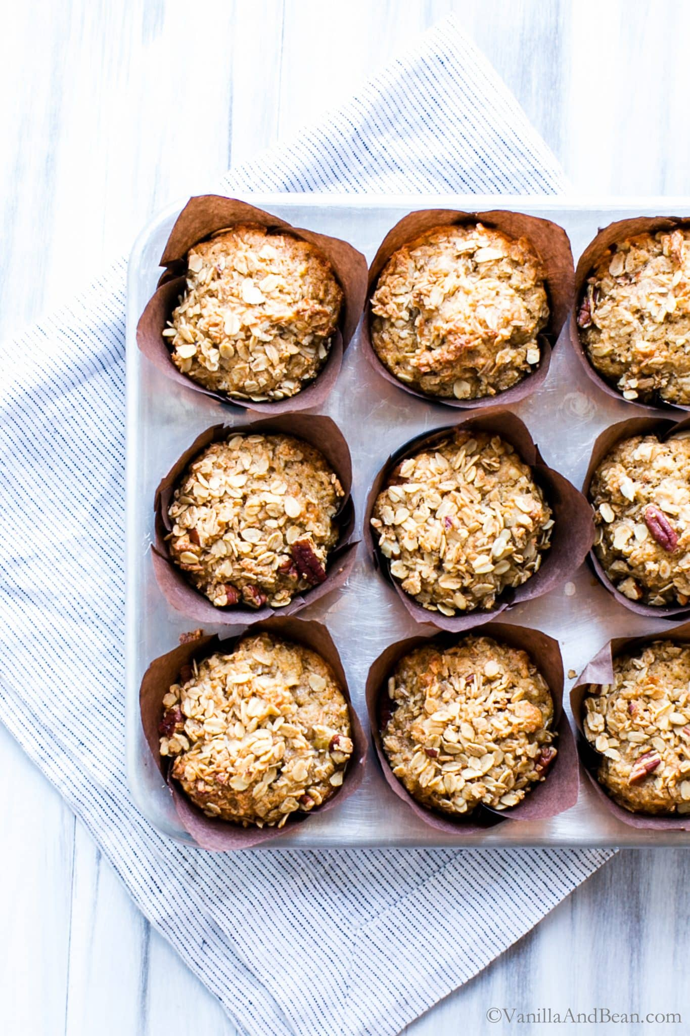Banana Oat Muffins in Muffin Pan