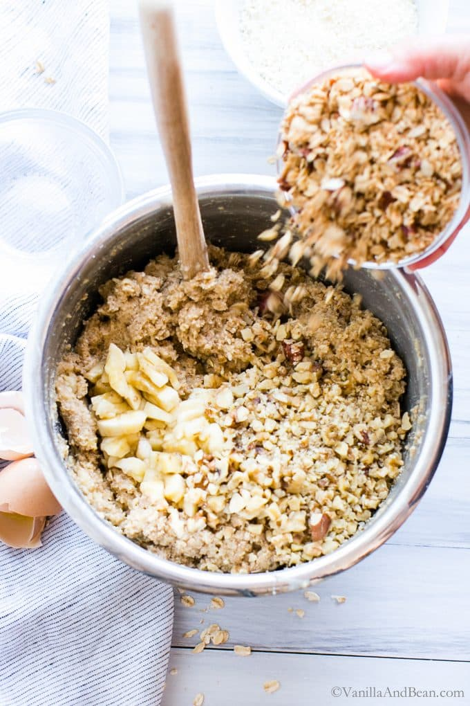 Granola going into the Banana Oat Crunch Muffins