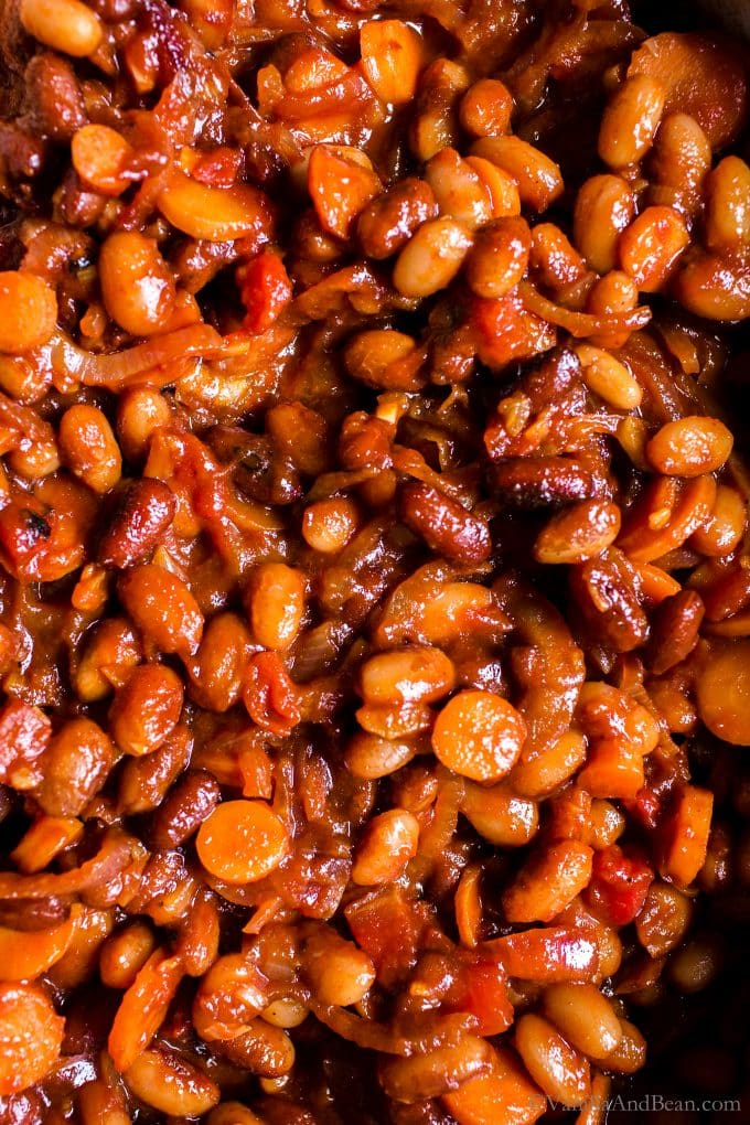 Close up of the BBQ Vegetarian Baked Beans