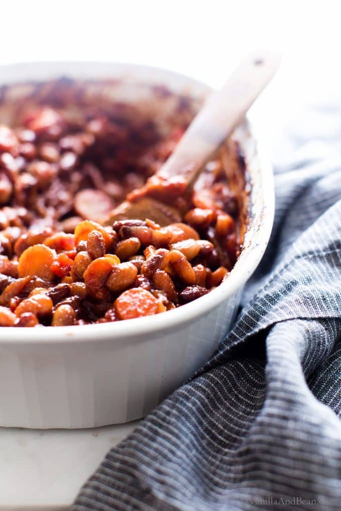 Homemade BBQ Baked Beans Vegetarian Recipe in a baker with ready to serve.