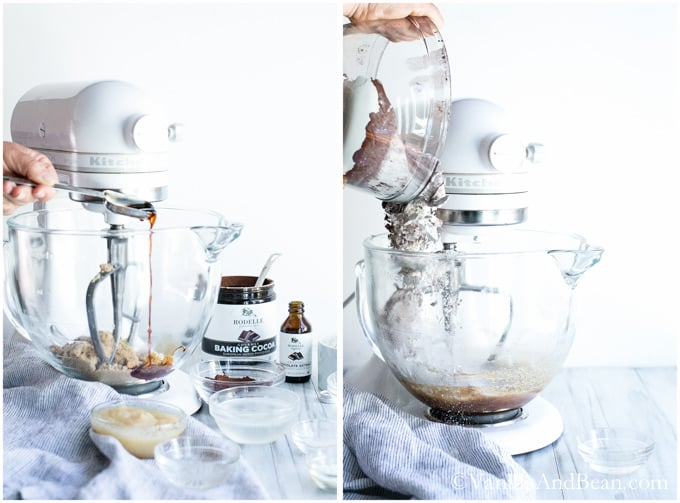 Sugar and other liquid ingredients in a bowl of a stand mixer with the paddle attachment.