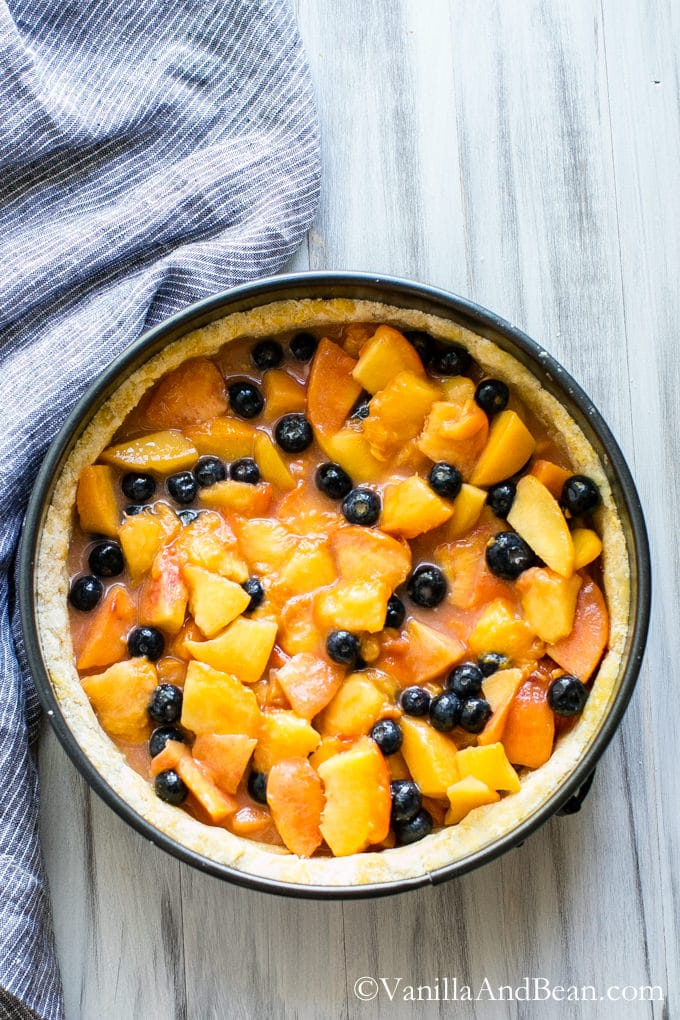 The Blueberry Peach Cobbler-Tart ready to be baked.