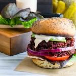Smoky Quinoa, Beet Veggie Burgers with Adobo Aioli