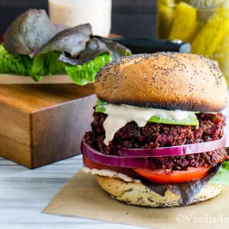 Smoky Quinoa, Beet Veggie Burgers with Adobo Aioli #Vegan   Vanilla And Bean
