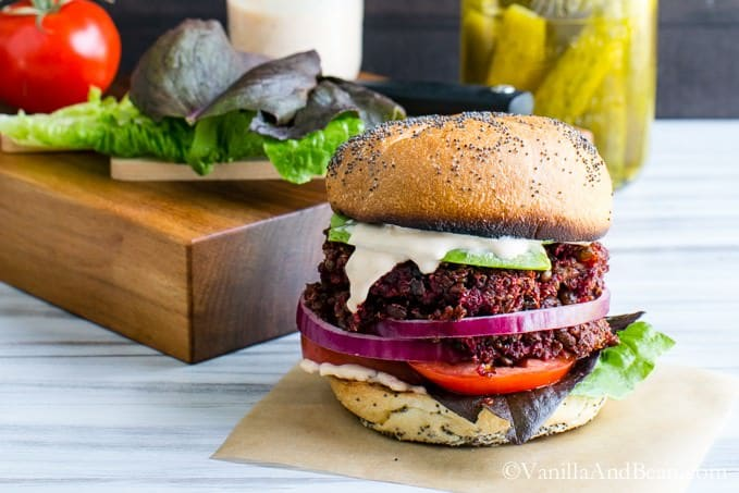 Smoky Quinoa, Beet Veggie Burgers with Adobo Aioli #Vegan | Vanilla And Bean