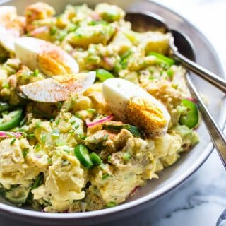 Texas Potato Salad in a serving bowl ready to be shared.